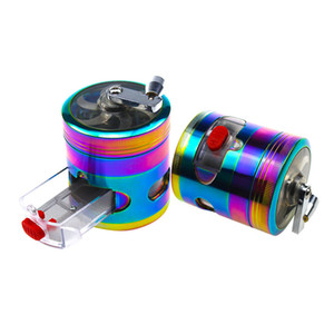 Herb grinder rainbow hand crank zinc alloy 4 layer 63mm Metal Grinders Tobacco Crusher for Dry Herb