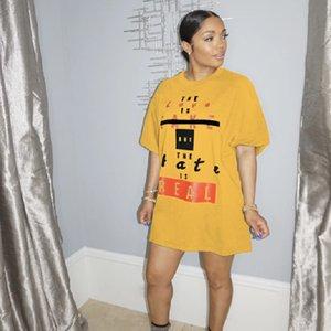 ANJAMANOR Fashion Letter Slogan Print Teeshirt Dress Short Summer Dresses for Women Clothes Casual Loose T Shirt D74-AC22