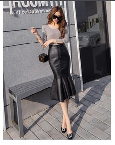 2021 Mermaid Sexy Black Autumn Winter Elegant PU leather Women Skirt Fashion package hip High Waist slim Mermaid skirt women Feminina