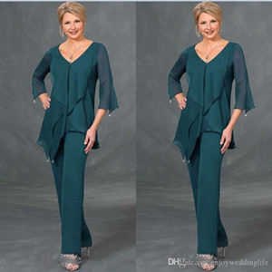 Dark Green Chiffon Mother Of The Bride Suits Pants V Neck Long Sleeves Plus Size Floor Length Mothers Suits Formal Dress Evening Gowns