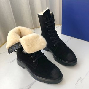 New top layer leather lace up rubber wear-resistant anti slip bottom wool one-piece warm-keeping inner yangmi shoes SW