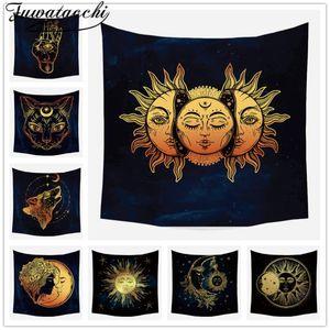 Fuwatacchi Gold Black Sun Moon Mandala Tapestry Wall Hanging Celestial Wall Tapestry Hippie Carpets Dorm Decor