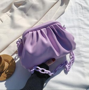 Thick Chains Dumpling Clip Women's Bag Cloud Pleated Women Shoulder Bags Casual Solid Color Women Handbags Purse Day Clutch 2021