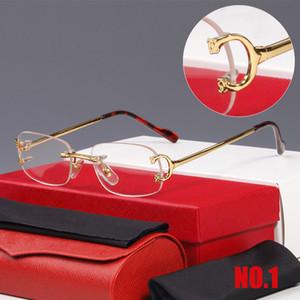 Gafas de sol sin montura de alta calidad Mujeres Diseñador Retro Gafas de sol Metal Classic Femenino Gradiente Sun Glass Hombres Vintage Gafas de sol con caja 2020