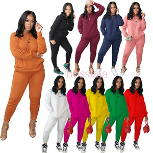 Women Sports Tracksuits Long Sleeved Pullover Sportswear Casual Two Piece Outfits Fashion Women Plus Size Clothing 2020 S-XXXL