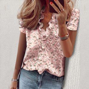 SHUJJIN Daisy Pineapple Print Blouse Shirts Office Lady 2020 Spring Summer Ruffle Women Blouses Sexy V neck Short Sleeve Tops