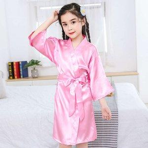 Pijamas infantiles de hielo verano fino seda niñas de seda y kimonos