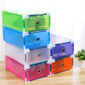 5PCS Transparent shoe box dustproof storage box can be superimposed combination shoe cabinet Clamshell men and women shoe box LJ200812