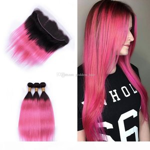 ombre 색상 # 1B 핑크 귀에 머리카락이있는 귀 정면에 핑크 귀 4pcs Lak Last Silky Straight Hair Wefts Laves With Lace 정면 Ombre 색상