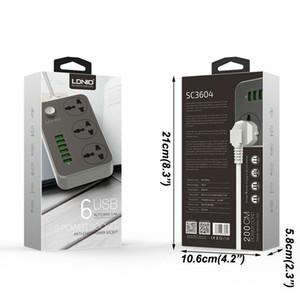 Evrensel Güç Şeridi Soket Taşınabilir Şerit Fiş Adaptörü 6 USB Bağlantı Noktası ABD / İNGILTERE / AB Çok Fonksiyonlu Akıllı Ev Elektroniği DHF3559
