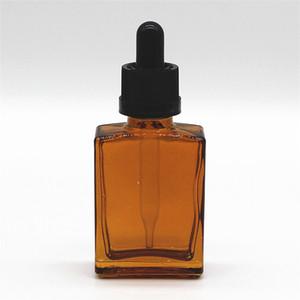 Amber Caved квадратный стеклянный борода нефтяное масло масляное масло 30 мл дочерняя крышка дочерняя крышка прямоугольника Медицинская жидкая стеклянная капельница бутылка оптом