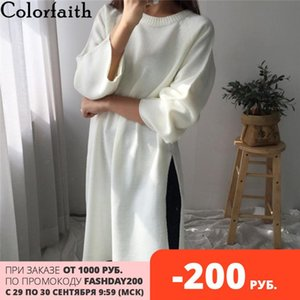 Colorfaith 2020 New Autumn Winter Women Sweaters Pullovers Split Fashionable Elegant Casual Oversize Knitting Long Tops SW2940