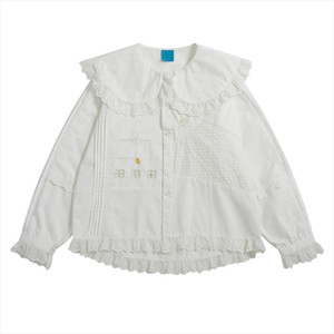 New White Lace Top Doll Collar Embroidery Stitching Shirt Womens Long Sleeves Suitable For Teenage Girls