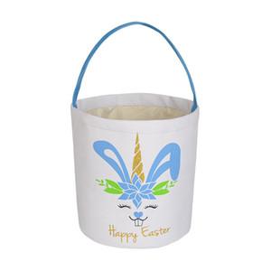 Easter Rabbit Basket Easter Sequins Basket Bunny Bags Rabbit Printed Canvas Tote Bag Egg Candies Baskets IIA938