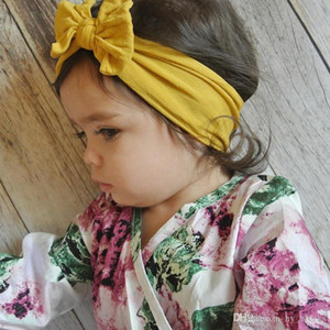 Baby Headbands Bohemian Children Hair Band Baby Bow Knotted Hair Band Solid Color Elastic Hair Band