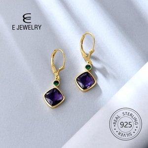 E S925 STERLING SILVER COLGLE Pendientes de gota para las mujeres Cuadradas Corazón Imitación Crystal 14k Chapado en oro Leverback Jewelyry 2020