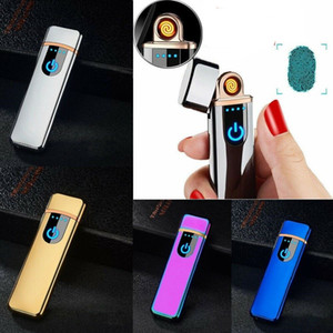 USB Rechargeable Electric Touch Sensor Metal Cigarette Sensing Lighter Windproof Thin Charging Full Screen Lighters Mini Gadgets
