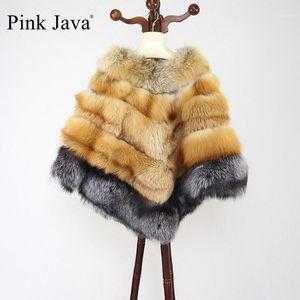 Rosa Java QC8068 Envío Gratis 2020 Nuevo Poncho Real Poncho Poncho Genuino Plata Plata Wrap Women Winter Coat1