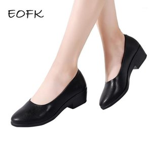 EOFK Frauen Pumps Schuhe Slip-on Shallow Basic Shoes Woman Square Beruf Hotel und Airline Stewardess Med-Heel Women's1