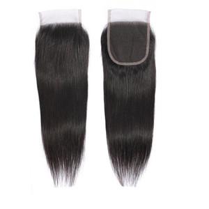 10 pcs fermeture de cheveux vierges brésiliens droite non remy 100% coiffeurs humains non transformés Middle 3 parties de lacets de dentelle