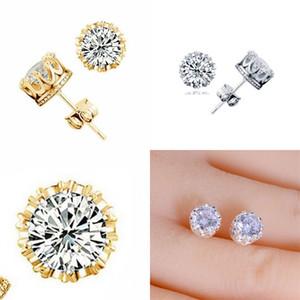 Bant Yeni Altın Taç Erkekler Saplama Küpe 925 Ayar Gümüş CZ Simüle Elmaslar Nişan Güzel Kadınlar Düğün Kristal Kulak 54 M2