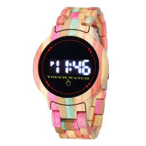 Reloj Mujer Wooden Watches Relogio Masculino Fashion LED Light Watches Quartz Unisex Watch Touch Digital Watches B1205