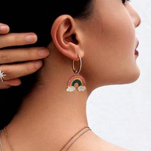 UILZ Asymmetric Earrings Drop Earrings Zircon Rainbow Hoop for Women Party Vacation Jewelry Best Gifts for Girl UE2460
