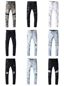 Mens Jeans Distressed Ripped Biker Slim Fit Motorcycle Biker Denim Pencil Pants For Men s Fashion Mans Black Pants Jeans