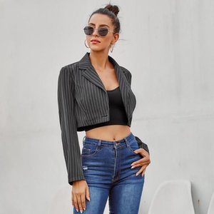 Fall 2020 Women's European and American INS Fashion Hot Sale Lapel Loose Striped Short Suit Jacket Polyester One Button street