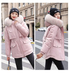 Cotton Thicken Warm Winter Jacket Coat Women Casual Parkas Fur Lining Pockets Fur Collar Warm Hooded Parka Mujer Coats 201202
