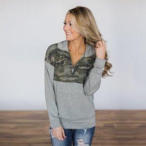 Yeni Sonbahar ve Kış Moda Baskılı Fermuar Yüksek Yaka Kadın Üst Ve Sıhhi Giysiler 600055