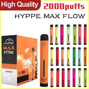 Hyppe Max Flow Dispositivo Vape Dispositivo Vape Local 2000 Puffs Cartuchos de Vapor Preparados Preparados PODS Estilo Portátil Vaporizador portátil VS Puff Barras