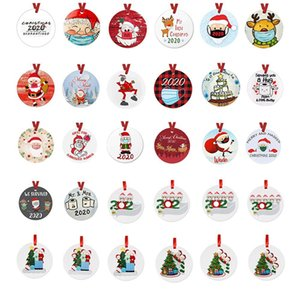 30 Styles PET Christmas Ornaments 3 Inch Round Christmas Tree Pendant Santa Wearing a Mask Christmas Decorations