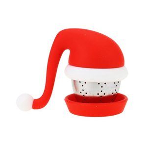 Christmas Hat Silicone Tea Infuser Reusable Safe Loose Leaf Strainer Stainless Steel Silicone Lid Tea Ball Christmas Gift Tool BWB2653