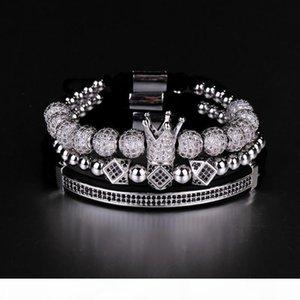 K 3pcs Set Hip Hop Gold Crown Bracelets 8mm Cubic Micro Pave Cz Ball Charm Braided Braiding Man Luxury Jewelry