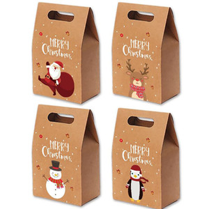 Christmas Gift Bags Xmas Vintage Kraft Paper Apple Gift Box Christmas Candy Case Party Gift Hand - wrapped Package Decorations DHC4378