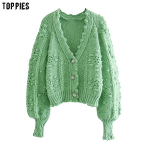 Toppies 2020 Autumn Winter Green Cardigans Women Knitted Jacket Dot Lantern Sleeve Cardigan Sweater Z1123