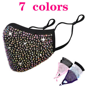 Face Masks Fashion BlingBling Diamond Designer Luxury Mask Washable Reusable Adult Rhinestones Masks Mascarillas Protective Adjustable Mask
