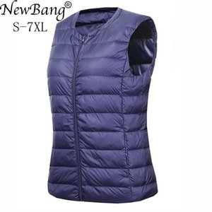 NewBang Brand 6XL 7XL Large Size Waistcoat Women's Warm Vest Ultra Light Down Vest Women Portable Sleeveless Winter Warm Liner 201214