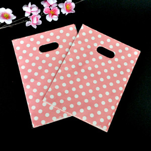 Wholesale 100pcs lot Round Dots Pink Plastic Bag 15x20cm Wedding Jewelry Packaging Gift Bag Plastic Shopping Bags With Handles Y1121