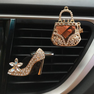 Car Decor Diamond Purse Car Air Freshener Auto Outlet Perfume Clip Scent Diffuser Bling Crystal Accessories Women Girls