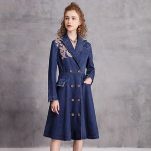 Dress denim button embroidery waist show thin temperament, retro soft, comfortable and beautiful lady, refined, refined and eye-catching pop