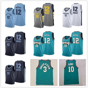 JA 12 Morant Mike 10 Bibby Basketball Jerseys Mens Shareef 3 Abdur-Rahim 50 Reeves 레트로 녹색 고품질 농구 셔츠