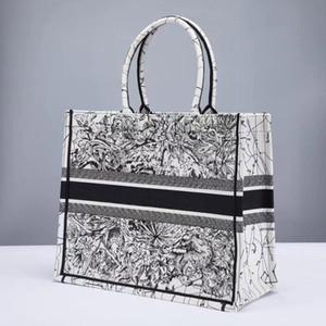 Moda borse 41.5 cm Ricamo 3D stereo fuochi d'artificio inchiostro fiore tigre modello grande capacità di lusso marca borsa shopping borsa borse a mano