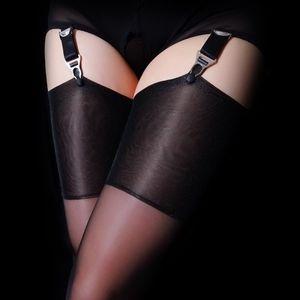 Retro sexy coscia calze di calze donne sopra le calze del ginocchio Sheer Silicone calze lucide per Garter Cinture 201109