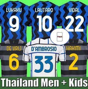 20 21 Lukaku Lautaro Eriksen Gagliardini Soccer Jerseys de Vrij 2020 2021 Barella Inter calcio Camicia da uomo Bambini Uniforme Milano Hakimi Alexis