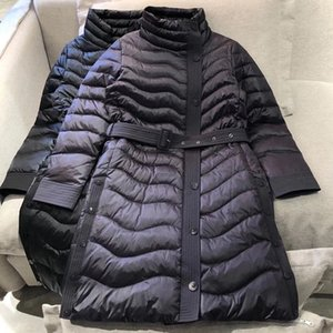 Winter Jackets Women Long Parkas Warm Slim Down Jacket Brand Design Solid Flimsy Female Padded Coats With Belt 11.19
