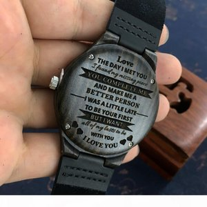 Personalized Wooden Custom Men Boyfriend Gifts Engraved Confirm for Black Sandalwood Watch Can't Change the Text