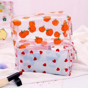 1 PC Girl Clear Bolsa de cosmética linda PVC Bolsa de maquillaje transparente para mujeres Caja de belleza con cremallera impermeable