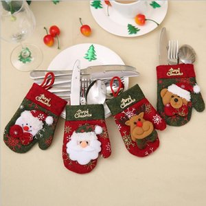 Christmas Gloves Cutlery Holder Xmas Mini Red Santa Claus Cutlery Bag Party Decor Cute Gift Hat Tableware Holder EWA2395